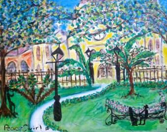 Romance in Jackson Square, Nola, original painting