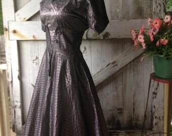 1940s new look taffeta dress 40s purple pin striped dress size small Vintage wwii era swing dress