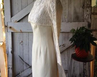 1960s crochet lace dress 60s mod open front dress topper size small Vintage ivory asymmetrical blouse