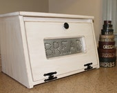 Rustic Antiqued White Bread Box Bin wooden Punched Tin Storage Primitive Cupboard counter top Country Kitchen handmade wood woodworking