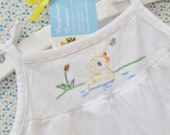 Fluffy Yellow Duck - Hand Embroidered Girls Cotton Romper