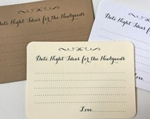 50 Date Night Cards, Wedding Advice Cards, Shower Game Cards, Wish Cards, Bachelorette Cards, W001
