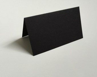 25 Black Tent Escort Cards - Folded Place Cards - Blank Table Cards - Stand Up Place Cards - Wedding Escort Cards - Tented Place Card - E001