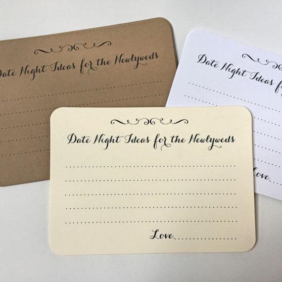 Wedding Night Advice: 50 Date Night Cards Wedding Advice Cards By GreenRidgeDesigns