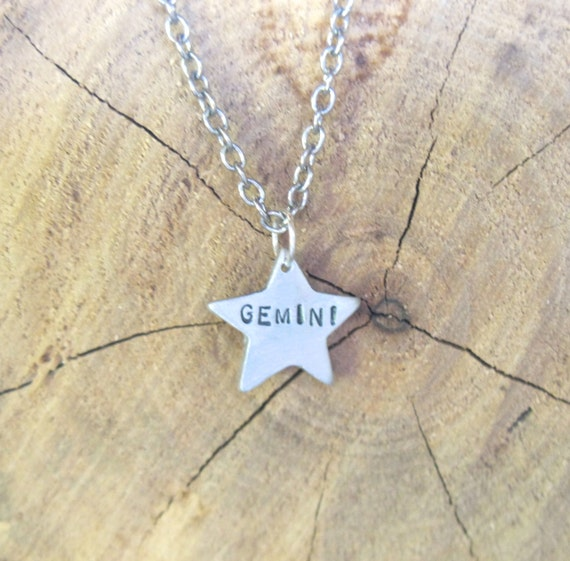Zodiac Necklace-Gemini-Star Sign Star Astrology Necklace-Vegan Necklace-Vegan Jewelry-Eco Friendly-Horoscope-Recycled Metals