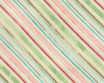SALE - Evergreen - From Basic Grey - For Moda - Holly Stripes - (30406 11) - 1 Yard - 5.95 Dollars