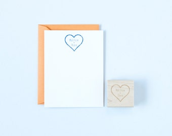 Heart and Names Rubber Stamp Personalized