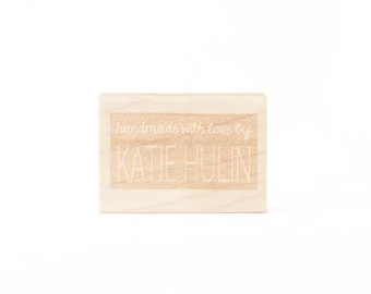 Handmade with Love Personalized Rubber Stamp for Makers