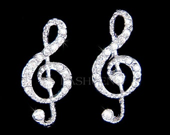 Swarovski Crystal TREBLE G CLEF Love Music Musical Note Sparkling Jewelry pierced Stud Earrings Christmas Best Friend BFF Musician Gift New