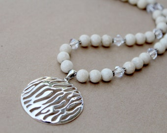 Sterling Silver Wavey Pendant and River Stone Bead Necklace