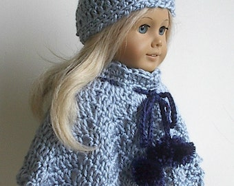 18 Inch Doll Clothes Crocheted Blue Poncho and Hat Set with Navy Blue Pompoms made to fit the American Girl and Other 18 inch Dolls