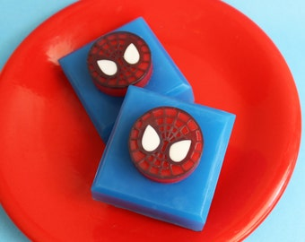 Superhero Spider Soap - Gift For Man, Boy Gift, Superhero Soap, Soap Favors, Kids Soap, Character Soap, Soap Bar, Comic Book Soap, Geek Gift