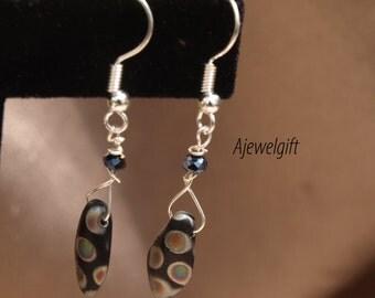 Dainty Black Polka Dotted Dagger Earrings 15011