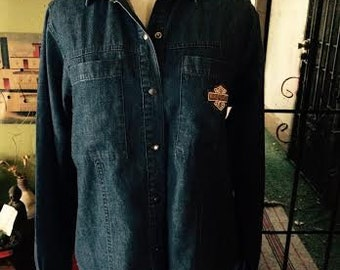 Vintage 1980's Harley Davidson Denim button up womens size Small