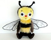 """Plush doll Bee Honey   Soft plush  Art Doll   9"""" tall   5 way jointed Art  & Collectible"""