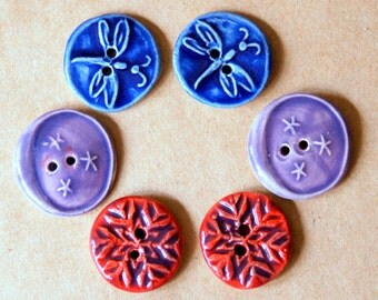 6 Handmade Ceramic Buttons - 3 pairs - Dragonfly, Snowflake and Moon buttons - Glossy and Bright Stoneware Buttons