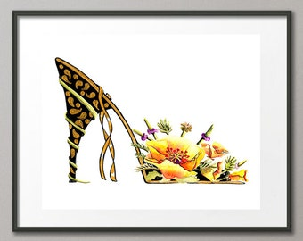 Fine Art Print Poppies Flower Shoes Stiletto Fashion Colorful Watercolor Painting Modern Elena