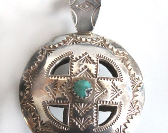 Vintage Authentic Native American Silver Two-Sided Medicine Wheel 4 Directions Pendant and Bead Necklace Woman or Man Gift