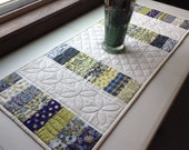 Table runner patchwork quilted blue white and yellows