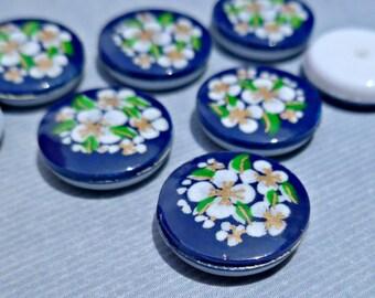 Vintage 13mm Round Hard Plastic Dark Blue Flower Cabochons (52-7F-6)