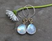 Blue Flash Moonstone Briolette Drop on Sterling Silver Hoop Earrings