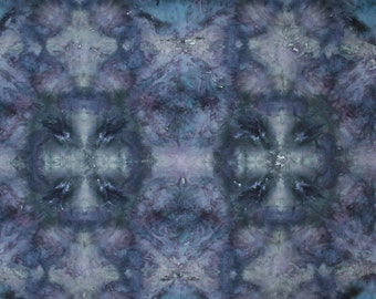 Black Blue Blocks -1 yard HAND DYED FABRIC - Tuscan Rose Modern Shibori Cotton - 5027