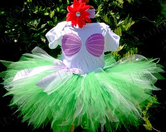 Girls Little Mermaid Outfit, Birthday Costume for Babies to Tweens, Ariel Birthday Set, Mermaid Tutu Seashell Onesie Sea Shell Mermaid Shirt