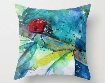 Ladybug Pillow, Ladybug Painting, Watercolor, Art, Ladybird Original watercolor art painting by Kathy Morton Stanion  EBSQ