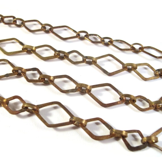 Gold Brass Chain, Diamond Shaped Alternating Chain, Handmade in Bali, 16x12mm and 11x8mm Gold Links (c876A - brpc)