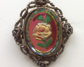 Reversed Carved Cameo Crystal Rose Brooch Pendant