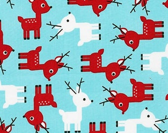 Ann Kelle, Jingle 3, Reindeer on Aqua  Fabric, yard