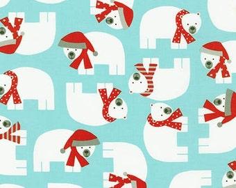 NEW Ann Kelle, Jingle 3, Polar Bears on Aqua  Fabric, yard