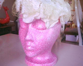 SALE Vintage 1940s Hat white green Old Hollywood floral 1950s 40s 50s