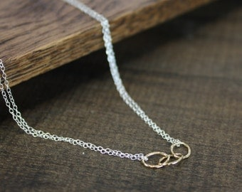 Modern Gold, Silver Chain Necklace - Mixed Metal - Gold-Fill, Sterling Silver
