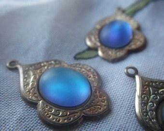 Moorish Drops with Matte Helio Blue 10x8mm Glass Cabochons 4 Pcs