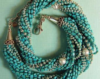 Hand knotted natural turquoise, creamy white fresh water pearls and Bali sterling silver necklace