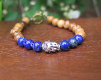 Lapis Lazuli Buddha Bracelet - Yoga Bohemian Jewelry - Wood Jewellery - Wooden Jewels - Healing Crystals - Mixed Metals Brass Silver Boho