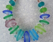 clear and jewel tones - Lampwork Bead Set - Etched
