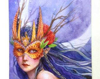 Mask Fairy Postcard - Midnight Warrior - Moon Fairy - Stationary - Watercolor Art