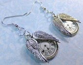 Time Flies Silvery Steampunk Lightweight Dangle Earrings with Clock Face Charms and Wing Pair Charms