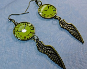 Steampunk Time Flies Earrings Lime Green Clock Charms wtih Brass Wing Charms Antique Brass Earwires