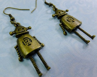 R is for Robot Cute Antique Brass Steampunk Dangle Earrings Detailed with Movable Extremities