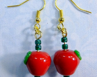 Favorite Teacher Earrings Glass Apples plus Leaves and Tiny Seed Beads