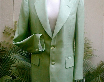 Menswear Sulka Jacket - Lime Green Raw Silk - Summer Weight Formal Informal