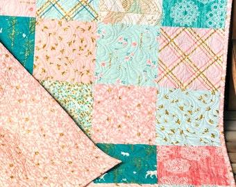 Brambleberry Ridge Modern Baby Girl Crib Cot Blanket, Pink, Mint, Coral, Gold Shimmer, Girl Nursery Bedding, Girl Shower Gift CUSTOM ORDER