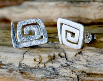 Textured and trendy thai silver stud earrings