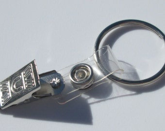 metal key ring with squeeze clip closure badge holder crafting new supplies
