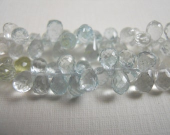 14 Aquamarine Gem Gemstone Micro Faceted Briolettes