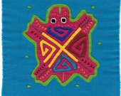 SALE - Adorable Turtle Mola Mini in Great Colors - Panama Kuna Indian Reverse Applique