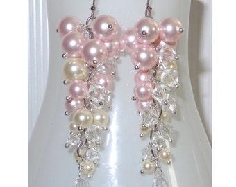 Ombre Custom Column Earrings, Ivory, Bridal Earring, Wedding Earrings, Bridesmaids, Crystal Pearl Earrings